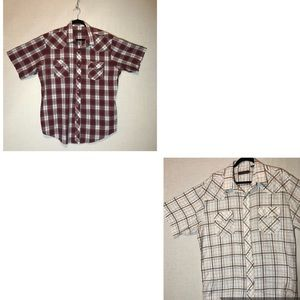 Pair Of Men's 2XL Roper Plaid Western S/S Shirts
